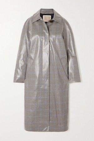 Checked Coated-twill Trench Coat - Gray