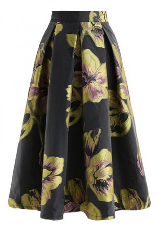Flower Pattern Organza A-Line Midi Skirt - NEW ARRIVALS - Retro, Indie and Unique Fashion