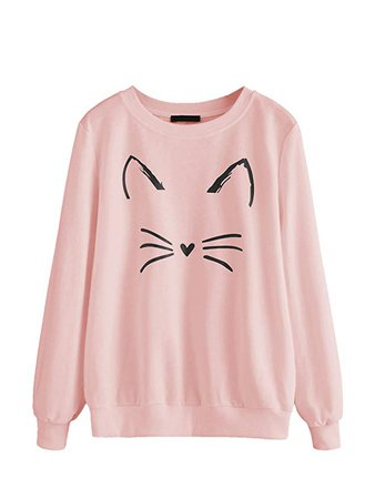 Amazon.com: Romwe Women's Cat Print Sweatshirt Long Sleeve Loose Pullover Shirt: Clothing