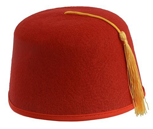 Kangaroo Red Fez Felt Hat w/ Gold Tassel Unknown KM-10049-069 [1540909520-128853] - $5.05