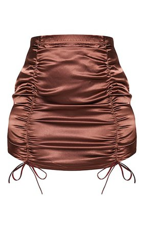 Chocolate Satin Ruched Front Mini Skirt - New In Clothing - New In | PrettyLittleThing