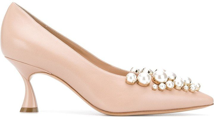 Faux-Pearl Embellished Pumps