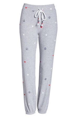 PJ Salvage USA Love Embroidered Jogger Pants | Nordstrom