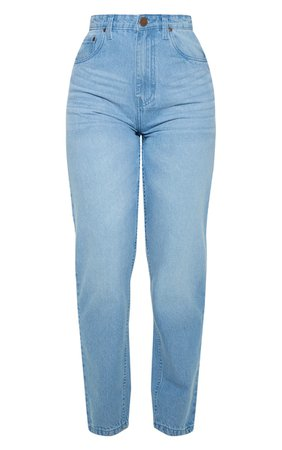Petite Light Wash Straight Leg Jeans | Petite | PrettyLittleThing USA