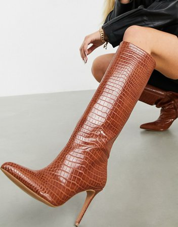 ASOS DESIGN Claudia knee high boots in tan | ASOS