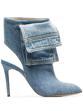 Natasha Zinko blue 100 cutout denim ankle boots $1,313 - Buy Online - Mobile Friendly, Fast Delivery, Price