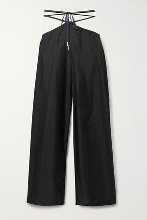 Tessa Cutout Twill Wide-leg Pants - Black