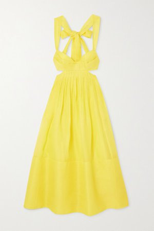 Wild Botanica Tie-detailed Cutout Linen And Silk-blend Organza Midi Dress - Yellow