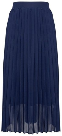 Navy Pleated Midi Skirt