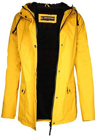 Urban Republic Hooded Vinyl Rain Jacket With Fur Lining
