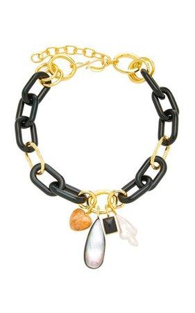 Forest Chunky Gold-Plated Brass Multi-Stone Chain Necklace By Lizzie Fortunato   Moda Operandi