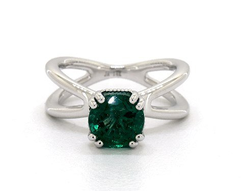 Green Emerald Round Cut 1.71 Carat Solitaire Engagement Ring in 14K White Gold - 1945872