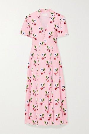 Pastel pink Adelaide floral-print crepe midi dress | Borgo de Nor | NET-A-PORTER
