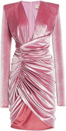 Alexandre Vauthier Velvet Plunging Neckline Draped Mini Dress