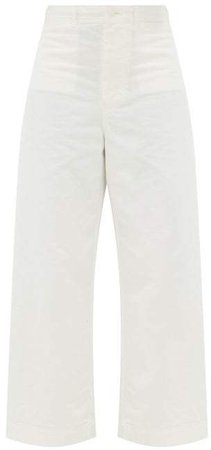 High Rise Cotton Wide Leg Jeans - Womens - Ivory