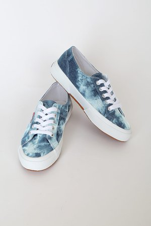 Superga 2750 TIEDYEDENIMU - Blue Tie-Dye Sneakers - Canvas Sneaks