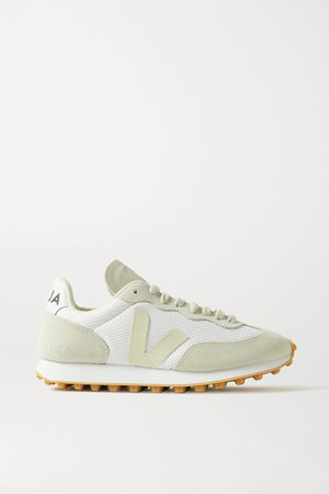 White + NET SUSTAIN Rio Branco leather-trimmed suede and mesh sneakers | Veja | NET-A-PORTER