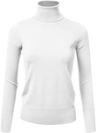 JJ Perfection Women's Stretch Knit Turtle Neck Long Sleeve Pullover Sweater at Amazon Women's Clothing store