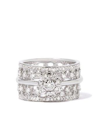 Annoushka 18kt White Gold Marguerite Ring Stack - Farfetch
