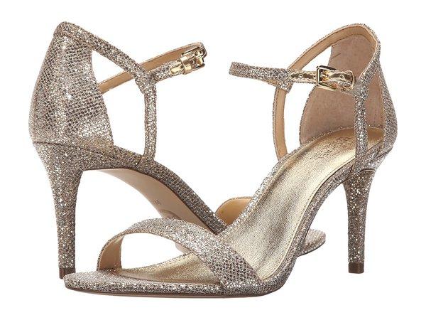 MICHAEL Michael Kors - Simone Mid Sandal (Silver/Sand Glitter) Women's Sandals