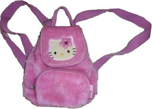 pink furry hello kitty book bag