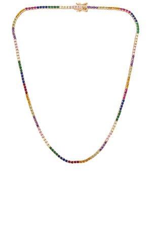 Lili Claspe Amina Tennis Necklace in Gold & Rainbow   REVOLVE