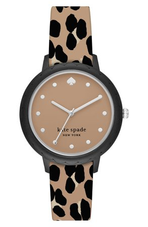 kate spade new york morningside leopard silicone strap watch, 34mm | Nordstrom
