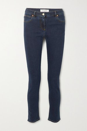 Cropped Mid-rise Slim-leg Jeans - Indigo