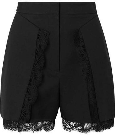 Lace-trimmed Wool-blend Shorts - Black