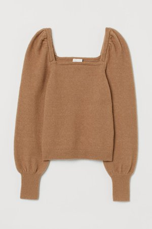 Puff-sleeved jumper - Dark beige - Ladies | H&M