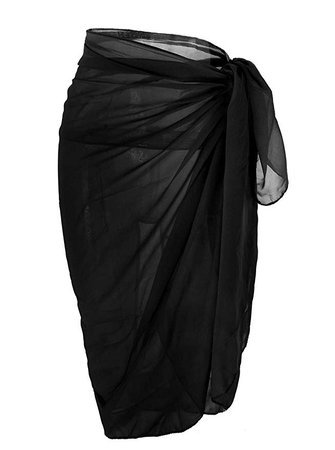 CHIC DIARY Women Chiffon Pareo Beach Wrap Sarong Swimsuit Scarf Cover Up for Vacation (Pure Black) at Amazon Women's Clothing store