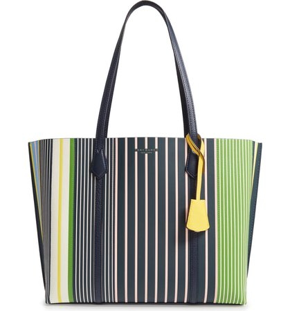 Tory Burch Perry Stripe Leather Tote | Nordstrom