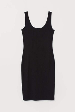 Fitted Jersey Dress - Black