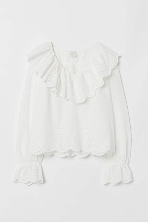 Blouse with Eyelet Embroidery - White