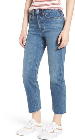 Wedgie Raw Hem High Waist Straight Leg Jeans