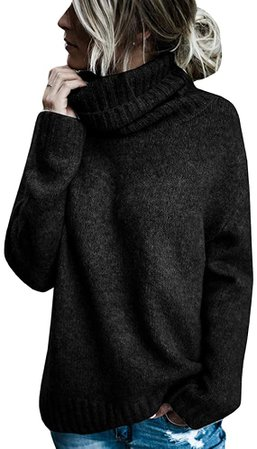 Womens Casual Oversized Turtleneck Long Sleeve Knitted Pullover Sweater Blouse Tops Sweatshirts Black at Amazon Women's Clothing store