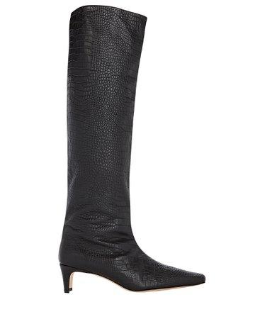 STAUD Wally Croc-Embossed Knee-High Boots   INTERMIX®