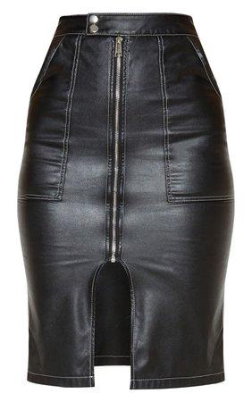 Black Faux Leather Contrast Stitch Midi Skirt | PrettyLittleThing USA