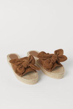 Suede espadrille mules - Brown - Ladies | H&M US