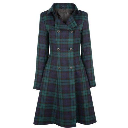New Ladies Black Watch Tartan Double breasted Coat In Tartan For Womens | eBay