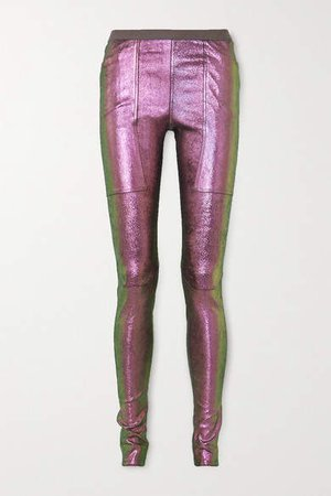 Iridescent Stretch Leather And Cotton-blend Leggings - Metallic
