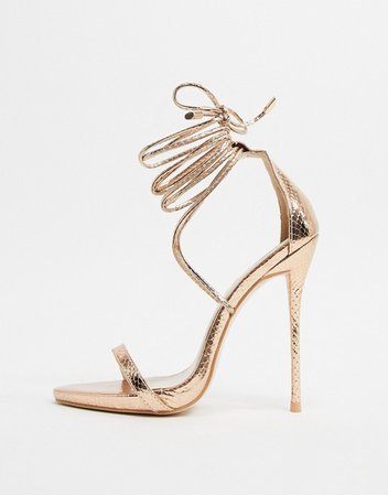 Simmi London Shania ankle tie heeled sandals in rose gold   ASOS