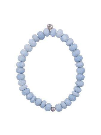 Sydney Evan 14kt gold beaded bracelet with diamond ball charm