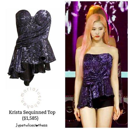 "Twice's Fashion on Instagram: ""SANA SBS INKIGAYO MARIA LUCIA HOHAN- Krista Sequinned Top ($1,585) #twicefashion #twicestyle #twice #nayeon #jeongyeon #jihyo #momo #mina…"""