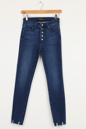 Just Black Dark Wash Jeans - High-Rise Jeans - Button-Fly Jeans - Lulus