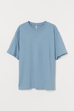 Wide-cut Cotton T-shirt - Blue