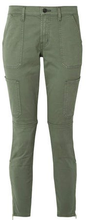 Cropped Stretch Cotton-blend Twill Skinny Pants - Army green