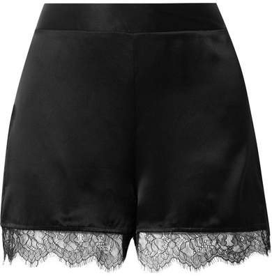 The Liliana Lace-trimmed Silk-charmeuse Shorts - Black