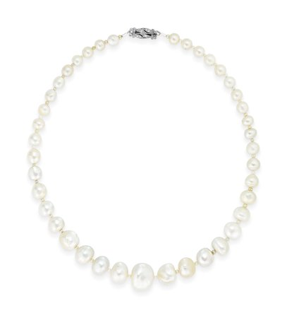 NATURAL PEARL, SEED PEARL AND DIAMOND NECKLACE