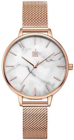 Amazon.com: SHENGKE Women Watch Quartz Ultra-Thin Marble Watch Creative Lady Watches Waterproof,Relogio Feminino: Watches